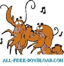 free vector Lobsters Dancing