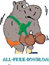 free vector Hippo Boxing