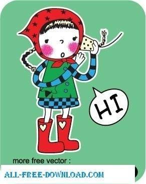 free vector Cute cartoon character