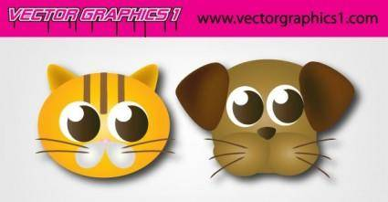 free vector Cute Dog and Cat Vector Graphics