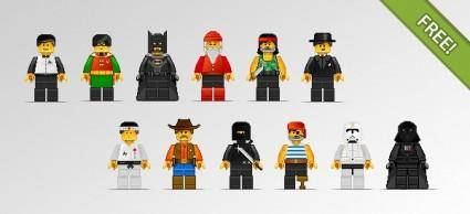 free vector 12 Lego Characters in Pixel Art Style