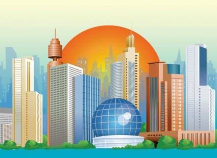 free vector Sunset City Vector