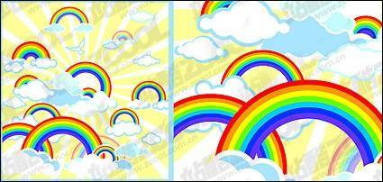 free vector Lovely rainbow vector illustrations material