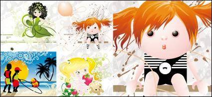 Vector material lovely illustrations of children 4
