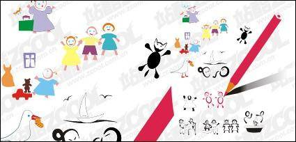 Children vector drawing material