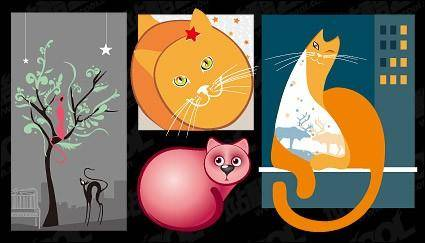 Lovely cat vector illustration material