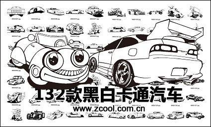 free vector Black-and-white classic cartoon motor vehicles vector design material