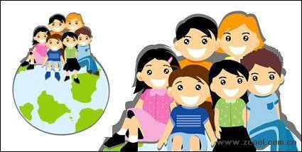 free vector Sitting on the Earth's Children Vector material