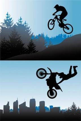 Bicycle and motorcycle sport silhouette vector