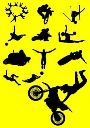 Variety of sports figures silhouette vector