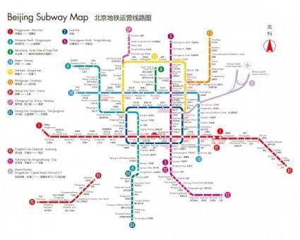 free vector Beijing subway map in english version in 2011