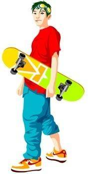 free vector Skateboarding vector 2