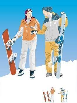 free vector Snow boarding vector 1