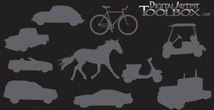 Transportation silhouettes free vector