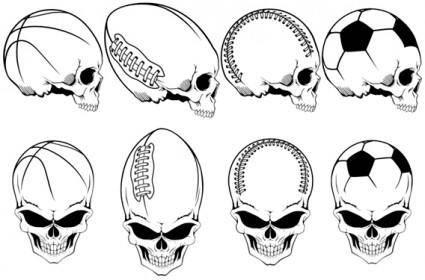 free vector Free Vector Sports Skulls Pack