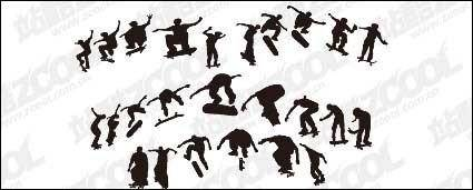 free vector Skateboarding figure silhouettes vector