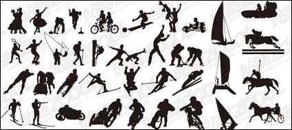 Vector silhouettes of various sports action