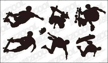 6 skateboard action figures vector material