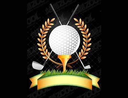 Golf, golf clubs, wheat vector