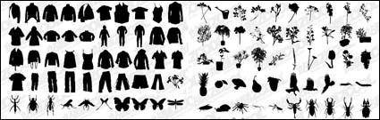 T-shirt, pants, flowers, plants, insects vector material