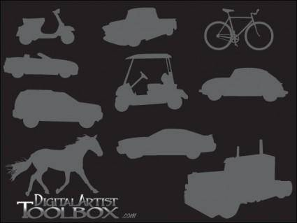 free vector 10 Trasportation Silhouettes