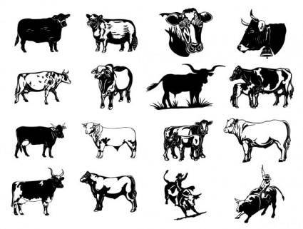 free vector Black and white paintings series two cow vector clip art pictures