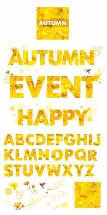 Yellow autumn clip art letters