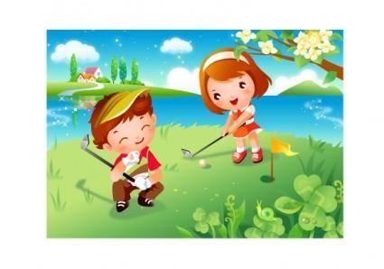 free vector Children clip art of golf