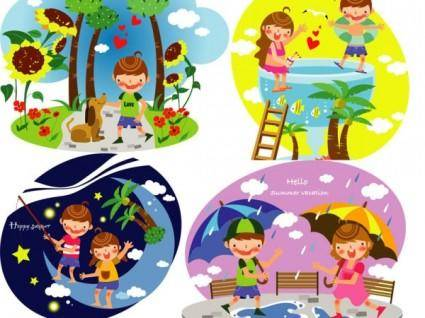 free vector Summer clip art of children 3