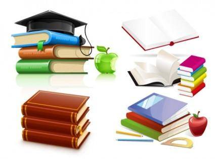free vector A variety of clip art books