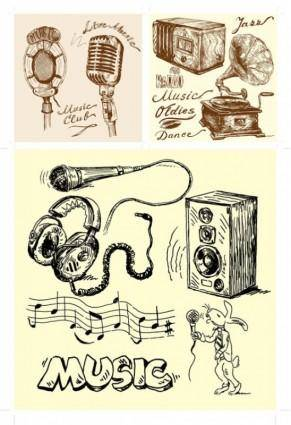 Handdrawn clip art sound equipment