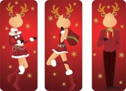 free vector Christmas clip art elk gentleman