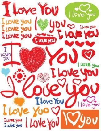 free vector Valentine day clip art handpainted english fonts