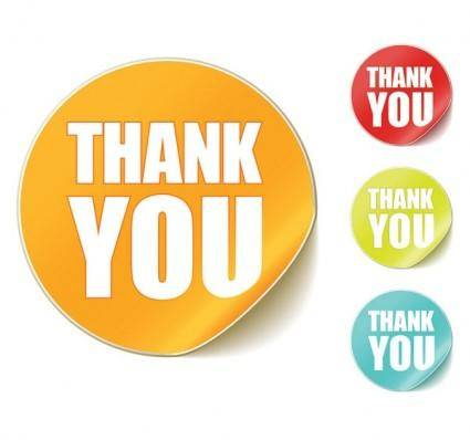 free vector Thank you clip art round stickers