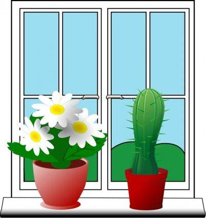 free vector Window with plants
