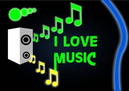 free vector I LOVE MUSIC