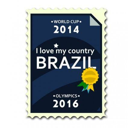 free vector Brazil 2014-2016 Postage Stamp