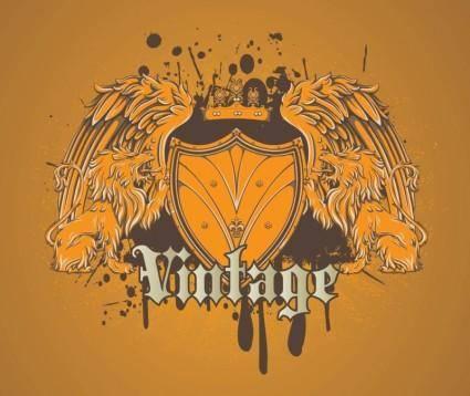 Cool Heraldic Lion Shield Vector