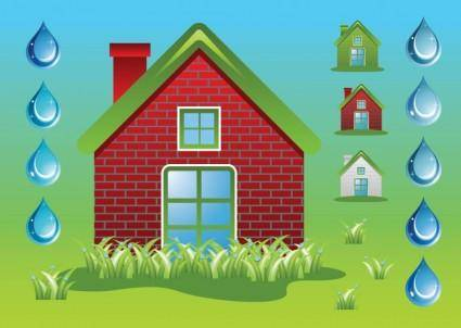 free vector Green Home Ecology Vectors
