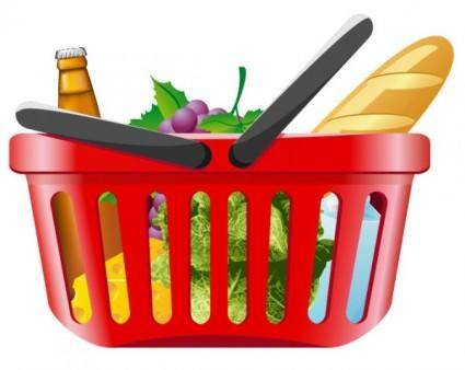 Fruits and vegetables and shopping basket 01 vector