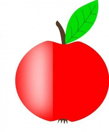 free vector Apple Red with a Green Leaf