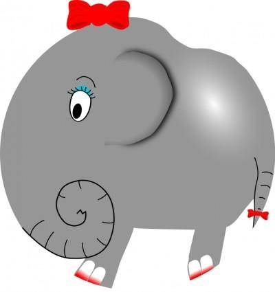 free vector Elephant Girl - Funny Little Cartoon