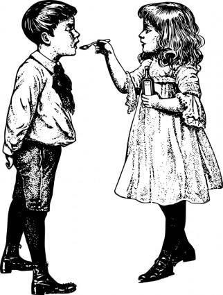 free vector Cough Medicine - Two Children