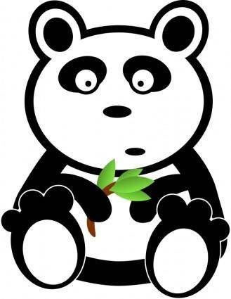free vector Panda with bamboo leaves