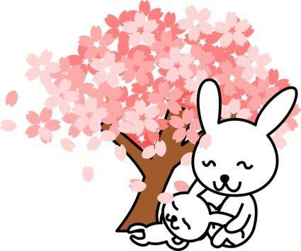 free vector Cherry blossoms rabbit