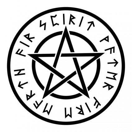 free vector Wiccan White Pentagram