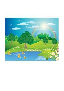 free vector Landscape with a rainbow