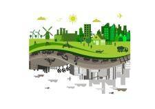 free vector Green vs. polluted city