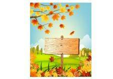 free vector Autumn wooden sign