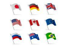 World flags waving